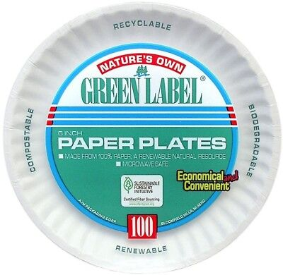 Compostable Biodegradable 1000 White Uncoated Paper Plates 6 inch Green Label
