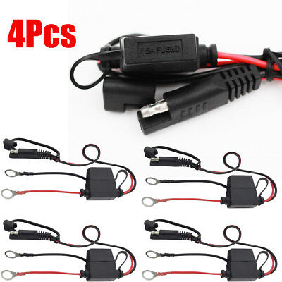 4Pcs Battery Tender Charger Cables Fused O-Ring Terminal Quick Connect Harness