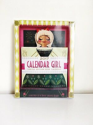 Limited Edition Brittney Lee 2017 Wood + Paper Calendar Girl Blonde with Red Bow