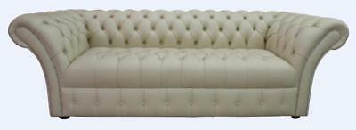 Chesterfield Balmoral 3 Seater Buttoned Seat Rice Milk Cream Leather Sofa Settee