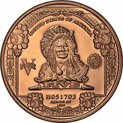 100 Ounces Of Copper 1 oz Each $5 INDIAN CHIEF NOTE  Design  Bullion Rounds