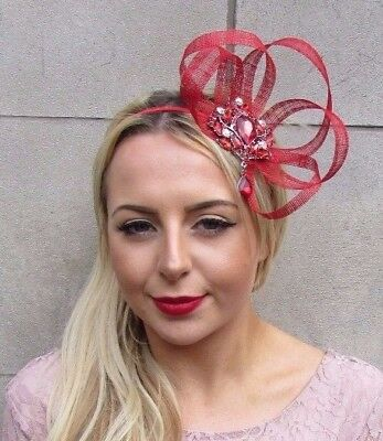 Red Diamante Sinamay Fascinator Headband Races Cocktail Occasion Hair Band 4487