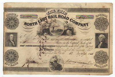 1855 The Erie and the North East Railroad Company Stock Certificate