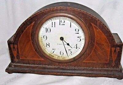 Antique Art Deco Inlaid Wood Wooden Mantel Clock High 8 Day Usa Made American