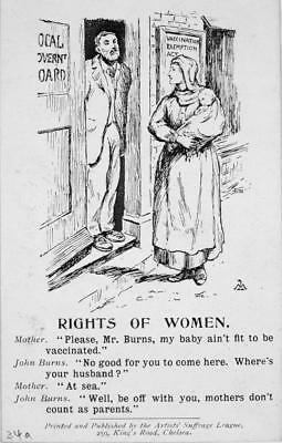 Print. ca 1913. Women's Suffrage - mothers don't count as parents