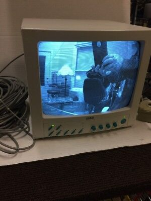 "Exxis EO4120Q 12"" CRT Video Surveillance Security Monitor w/4 cameras-cables"