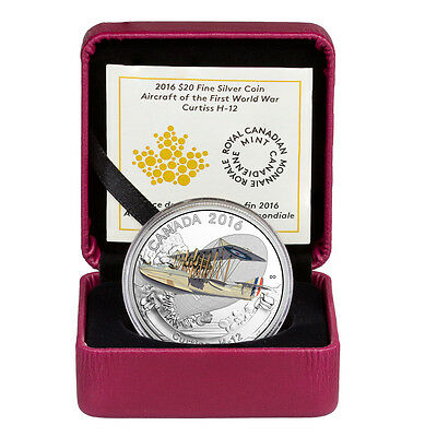 2016 Canada $20 1 oz. Proof Silver Aircraft of WWI  Curtiss H-12 In OGP SKU44054