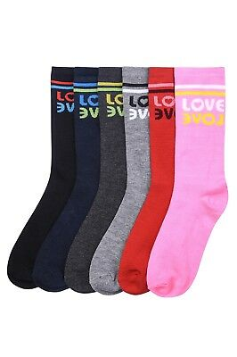 Lot of 6 Pairs Women Ladies Girls Long Crew Floral SCATTER Pattern Socks 9-11