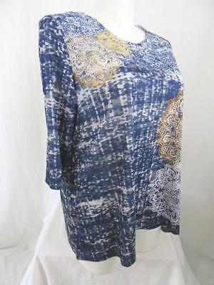 Catherines Size 4X Byzantine Print Polyester Embellished Top in Blue