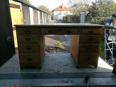 Vintage Desk and Chesterfield Captains Chair Set