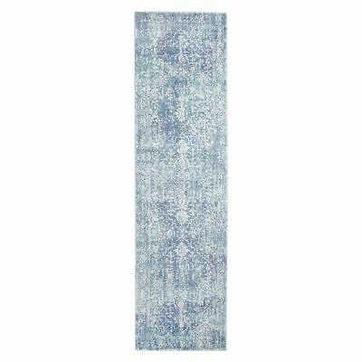 NEW Rug Culture Valiente Oriental Runner Rug in Blue, Grey
