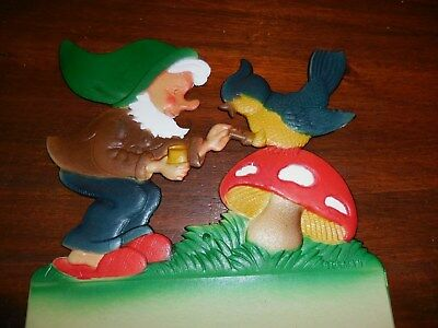 Vintage Paper Pulp Calendar From Germany Gnome With Mushroom & Bird