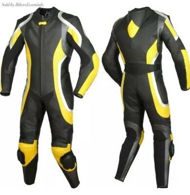 Motorbike Yellow And Black Leather Racing Suit Ce Approved Protection All Sizes