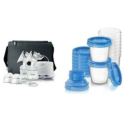 Philips AVENT Double Electric Comfort Breast Pump and Breast Milk Storage Cup...
