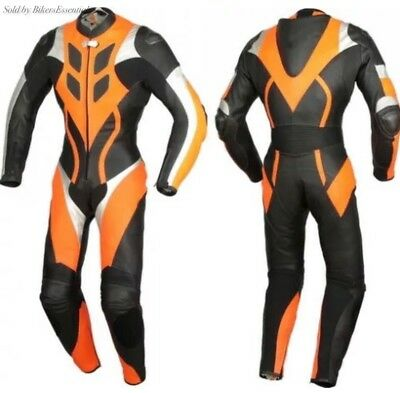 Motorcycle Orange And Black Leather Racing Suit Ce Approved Protection All Sizes