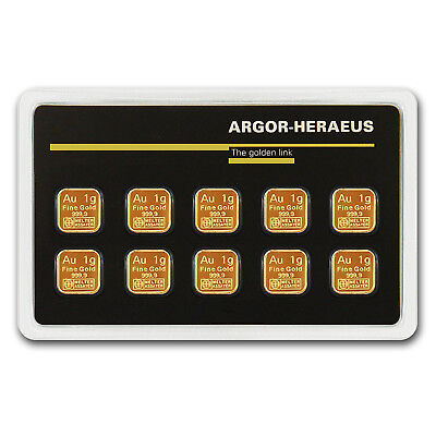 10x 1 gram Gold Bar - Argor-Heraeus (In Assay) - SKU #79722