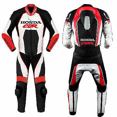 Honda Red Motorcycle Leather Racing Suit Ce Approved Protection All Sizes