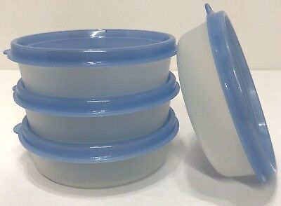Tupperware Little Wonders Bowls Containers Light Blue Seals Set of 4 Snack New