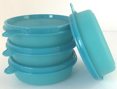 Tupperware Little Wonders Bowls Teal Aqua Blue Snack Containers Set of 4 New