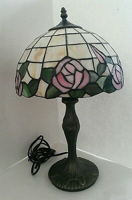 Table Lamp Tiffany Style Stained Glass Pink Flowers Bronze Base