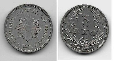1901 Uruguay  copper nickel 5 Centesimos, high grade