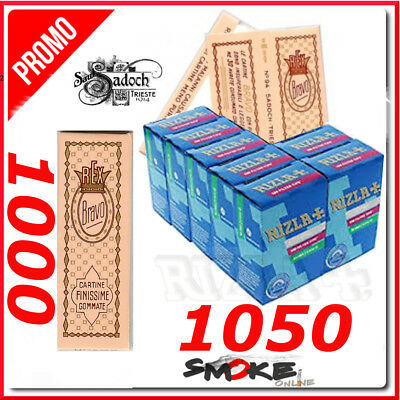 1000 CARTINE BRAVO REX CORTE REGULAR FINISSIME e 1050 FILTRI RIZLA SLIM 6 mm