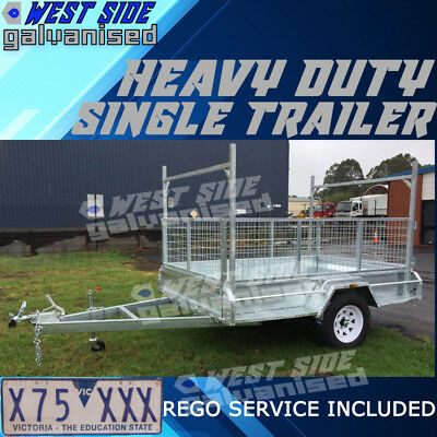 7x5 Single Axle Trailer Galvanised Heavy Duty 900mm Cage Hot Dip H-Frame REGO