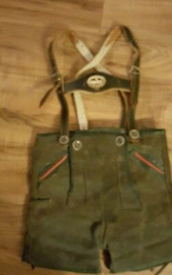 Vintage German Lederhosen Leather Suede Child's Green Shorts With Suspenders 2