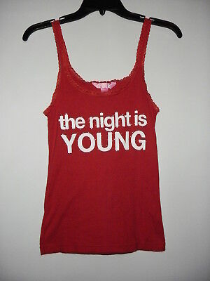 "Victoria's Secret Pink New""The Night Is Young""Red Cotton Lace Straps Camisole M"