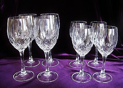 PERFECT! Set of 8 JUAN Cristal D'Arques Durand Crystal Stems 4 Water and 4 Wine