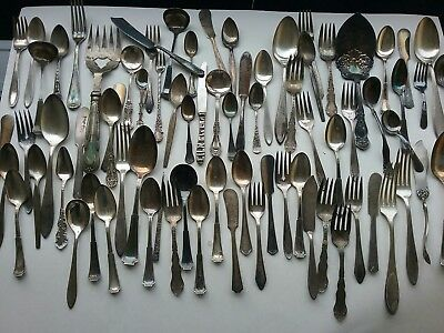 vintage silverplate mixed lot over 70 forks and spoons