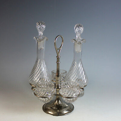 Antique French Silverplate Cruet Set with Extra's