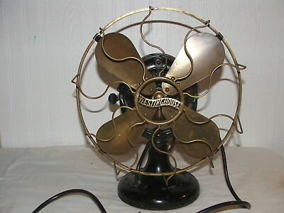 "Antique1906 Westinghouse 12"" 4 Blade Brass Cage Tank Fan Antique Electric 60677"
