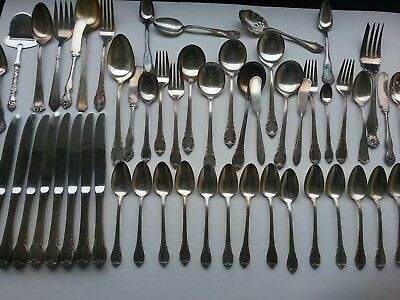 Mixed Vintage Silverplate Flatware  over 50 Pieces Mostly Spoons & Forks