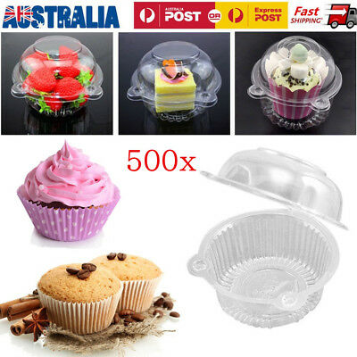 100/500 Clear Plastic Cupcake Case Muffin Pods Dome Single Cup Cake Boxes Holder