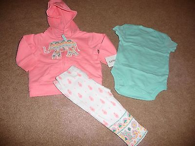 NEW Carters Baby Girl 3 Piece Elephant Hoodie, Bodysuit & Pants Set 3 months NWT