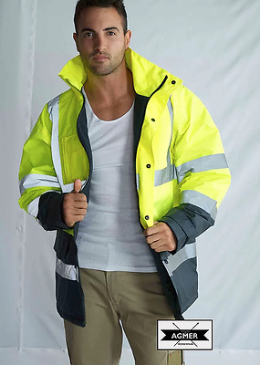 Hi Vis Safety Rain Waterproof Fleece Lined Storm Jacket Coat Reflective Tape