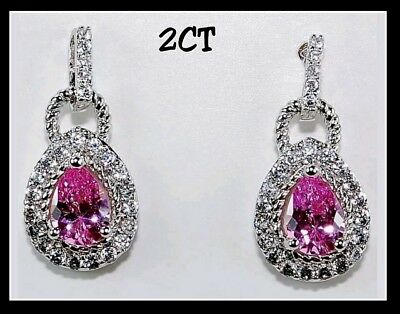 2CT Pink Sapphire & White Topaz 925 Solid Sterling Silver Earrings Jewelry