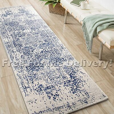 SULIS MEDALLION IVORY BLUE TRADITIONAL RUG RUNNER (XL) 80x500cm **FREE DELIVERY*