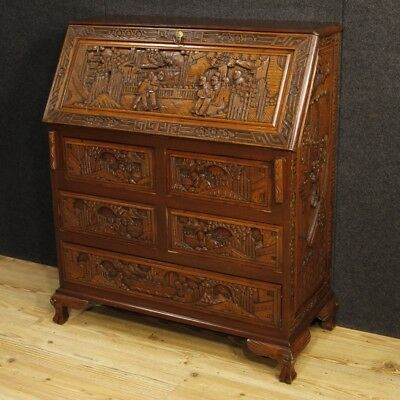 Bureau desk carved wood furniture Dutch secrétaire dresser antique style 900 XX