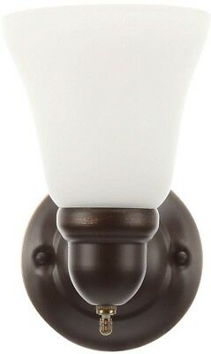 Oil Rubbed Bronze Sconce 1-Light Wall Mounted Light Fixture Frosted Glass Shade