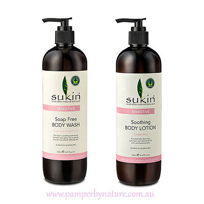 Sukin Sensitive Soap Free Body Wash & Soothing Body Lotion Duo pack 2 x 500ml