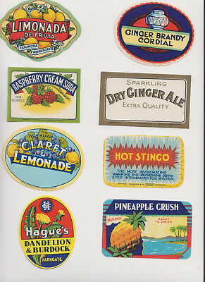 35 Soft Drink Labels Collection 1910-1930's Unused Vintage Beautiful  +18 more i