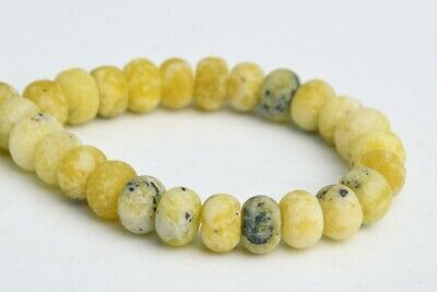 6x4MM Natural Matte Yellow Turquoise Grade AAA Rondelle Loose Beads 7.5""