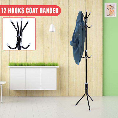 12 Hooks Coat Rack Tree style Metal Hat Bag Stand Clothes Umbrella Organizer AU