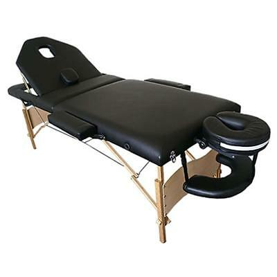 3 Zones Portable Massage Table Beauty Couch Bed  Black incl. Bag