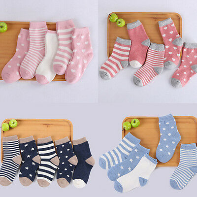 5 Pairs Newborn Baby Cartoon Cotton Socks Infant Toddler Kids Soft Sock FT