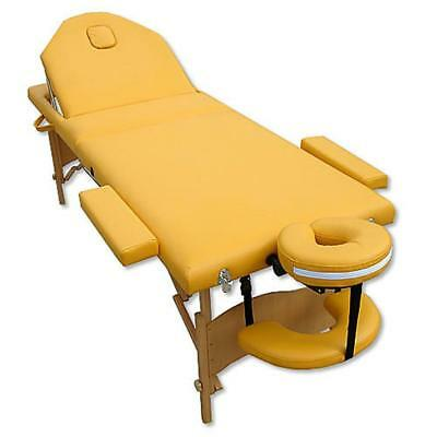 3 Zones Portable Massage Table Beauty Couch Bed Yellow incl. Bag