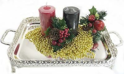 Silver Plated Decorative Tray Wedding Table Centre Piece Xmas Festive Candle