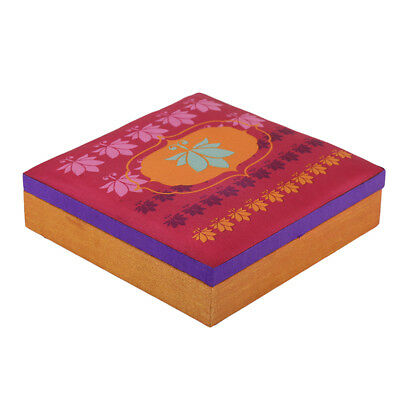 Indian Traditional Handmade Lotus Pink Square Silk Decorative Box Home Décor A8
